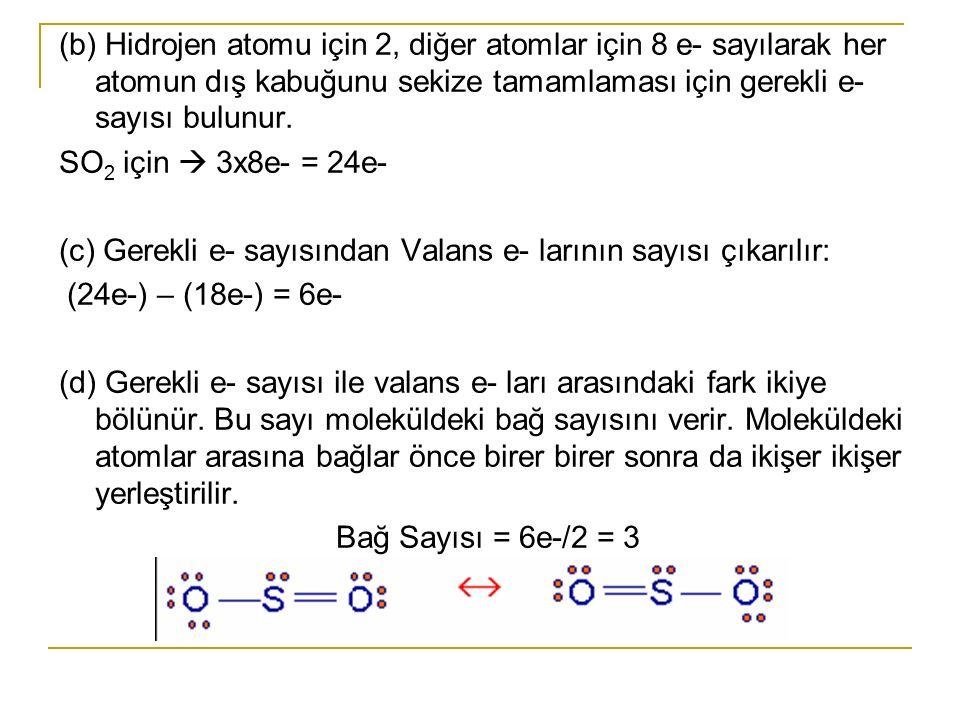 (b) Hidrojen atomu için 2, diğer atomlar için 8 e- sayılarak her atomun dış kabuğunu sekize tamamlaması için gerekli e- sayısı bulunur. SO 2 için  3x