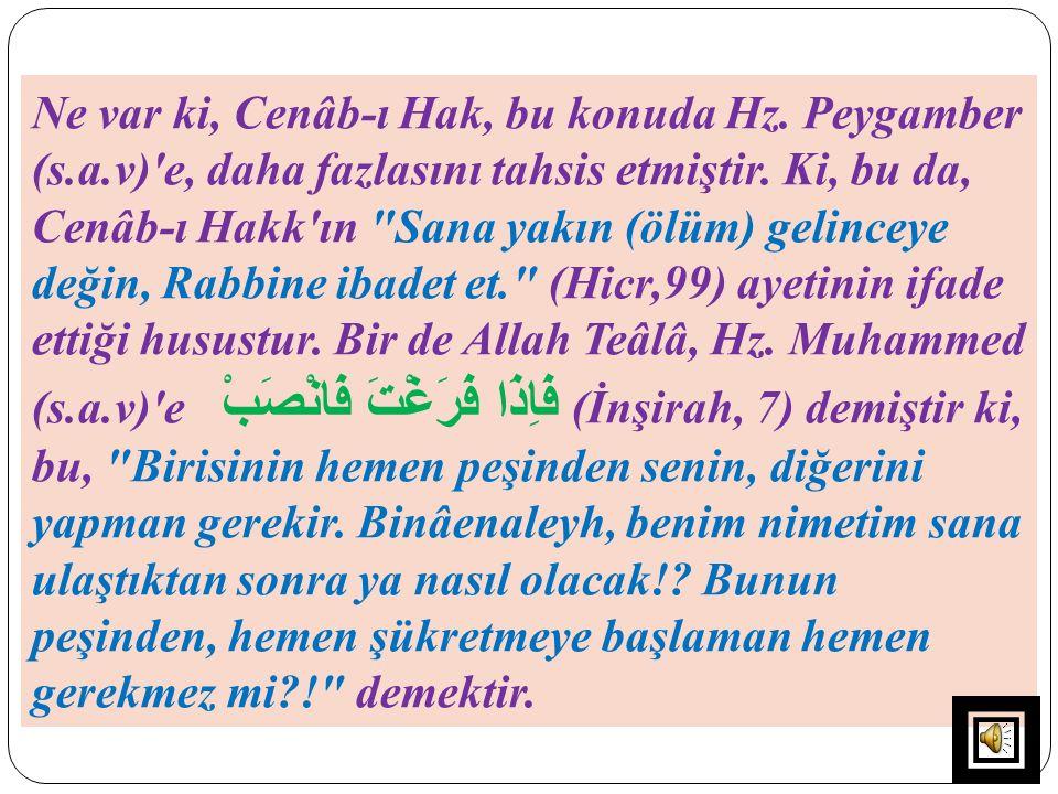 Ne var ki, Cenâb-ı Hak, bu konuda Hz. Peygamber (s.a.v)'e, daha fazlasını tahsis etmiştir. Ki, bu da, Cenâb-ı Hakk'ın