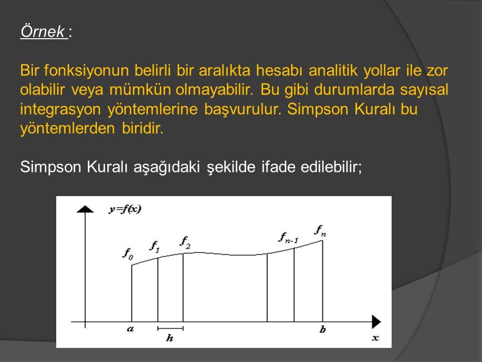 Örnek : Bir fonksiyonun belirli bir aralıkta hesabı analitik yollar ile zor olabilir veya mümkün olmayabilir. Bu gibi durumlarda sayısal integrasyon y