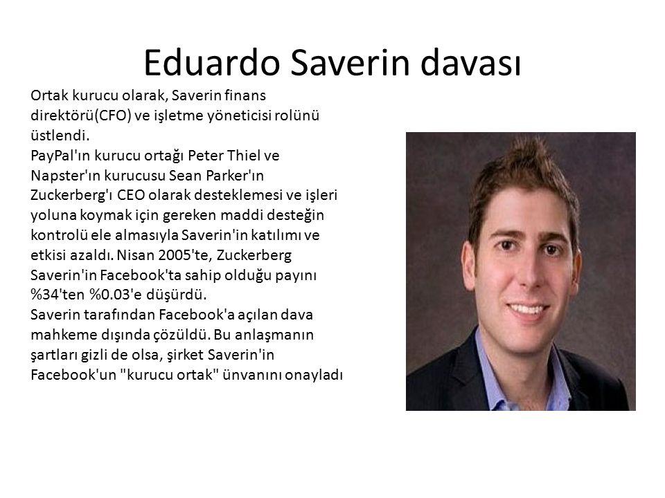 Eduardo Saverin davası Ortak kurucu olarak, Saverin finans direktörü(CFO) ve işletme yöneticisi rolünü üstlendi. PayPal'ın kurucu ortağı Peter Thiel v