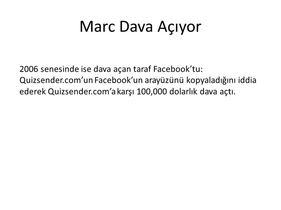 Marc Dava Açıyor 2006 senesinde ise dava açan taraf Facebook'tu: Quizsender.com'un Facebook'un arayüzünü kopyaladığını iddia ederek Quizsender.com'a k