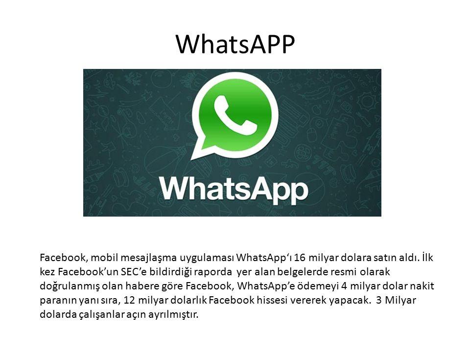 WhatsAPP Facebook, mobil mesajlaşma uygulaması WhatsApp'ı 16 milyar dolara satın aldı. İlk kez Facebook'un SEC'e bildirdiği raporda yer alan belgelerd
