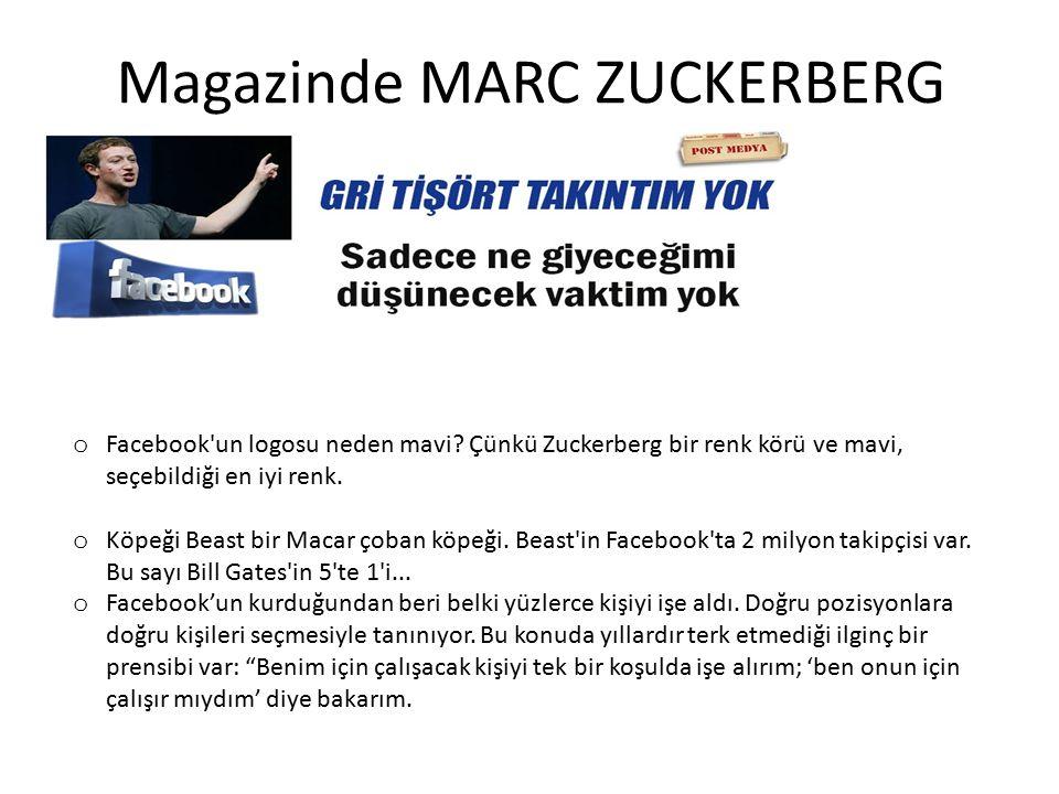Magazinde MARC ZUCKERBERG o Facebook'un logosu neden mavi? Çünkü Zuckerberg bir renk körü ve mavi, seçebildiği en iyi renk. o Köpeği Beast bir Macar ç