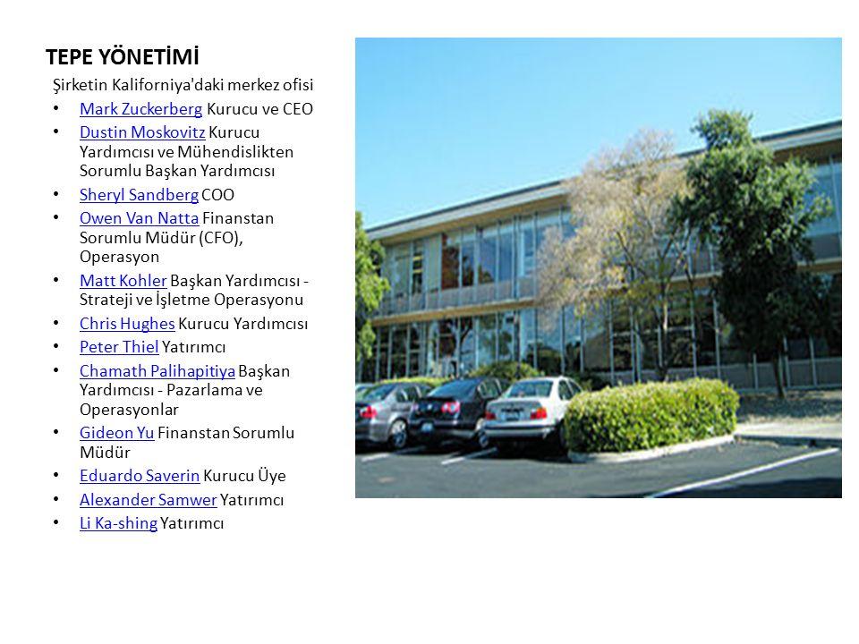 TEPE YÖNETİMİ Şirketin Kaliforniya'daki merkez ofisi Mark Zuckerberg Kurucu ve CEO Mark Zuckerberg Dustin Moskovitz Kurucu Yardımcısı ve Mühendislikte