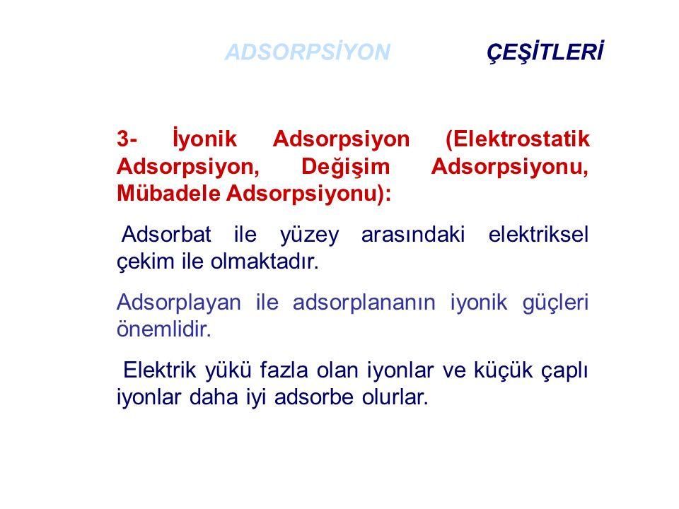 3- İyonik Adsorpsiyon (Elektrostatik Adsorpsiyon, Değişim Adsorpsiyonu, Mübadele Adsorpsiyonu): Adsorbat ile yüzey arasındaki elektriksel çekim ile olmaktadır.