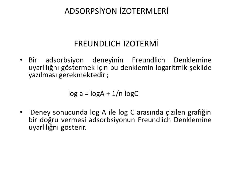 ADSORPSİYON İZOTERMLERİ FREUNDLICH IZOTERMİ Bir adsorbsiyon deneyinin Freundlich Denklemine uyarlılığnı göstermek için bu denklemin logaritmik şekilde yazılması gerekmektedir ; log a = logA + 1/n logC Deney sonucunda log A ile log C arasında çizilen grafiğin bir doğru vermesi adsorbsiyonun Freundlich Denklemine uyarlılığnı gösterir.