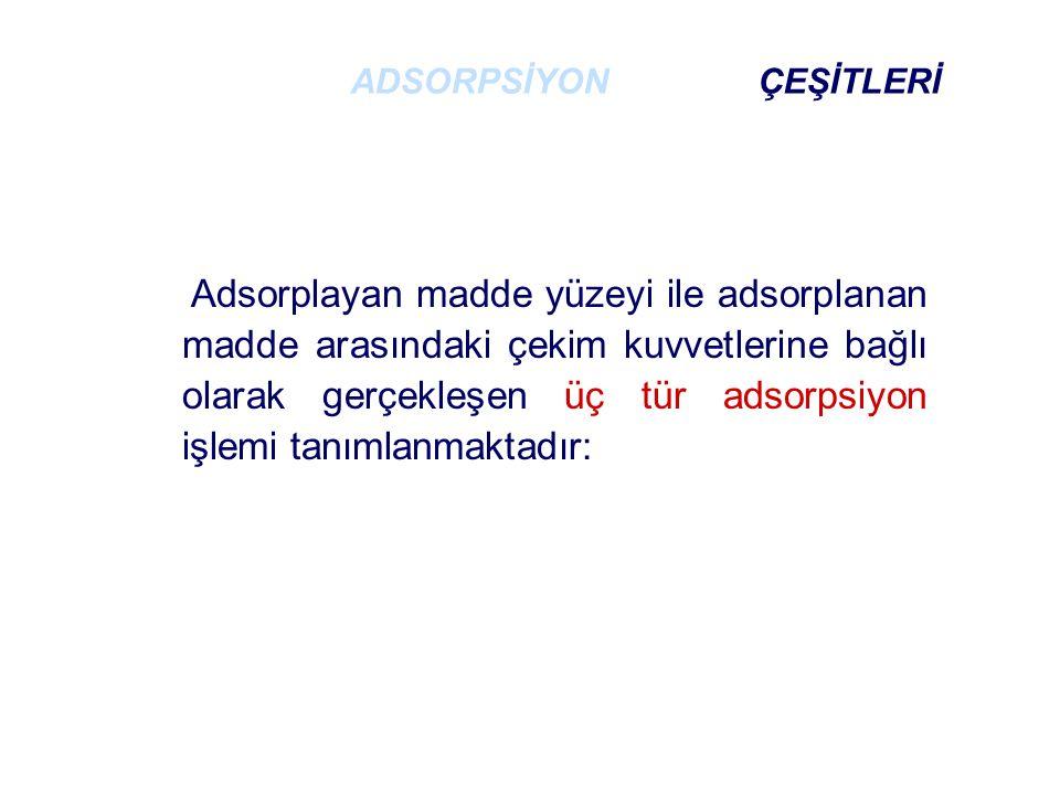 Adsorplayan madde yüzeyi ile adsorplanan madde arasındaki çekim kuvvetlerine bağlı olarak gerçekleşen üç tür adsorpsiyon işlemi tanımlanmaktadır: ADSORPSİYON ÇEŞİTLERİ