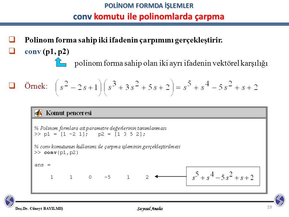 Doç.Dr. Cüneyt BAYILMIŞ Sayısal Analiz 19 POLİNOM FORMDA İŞLEMLER conv komutu ile polinomlarda çarpma  Polinom forma sahip iki ifadenin çarpımını ger