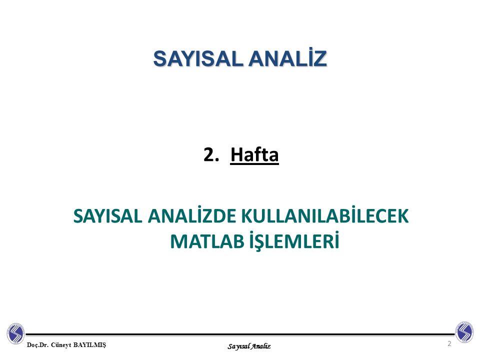Sayısal Analiz Doç.Dr. Cüneyt BAYILMIŞ 2.Hafta SAYISAL ANALİZDE KULLANILABİLECEK MATLAB İŞLEMLERİ 2 SAYISAL ANALİZ