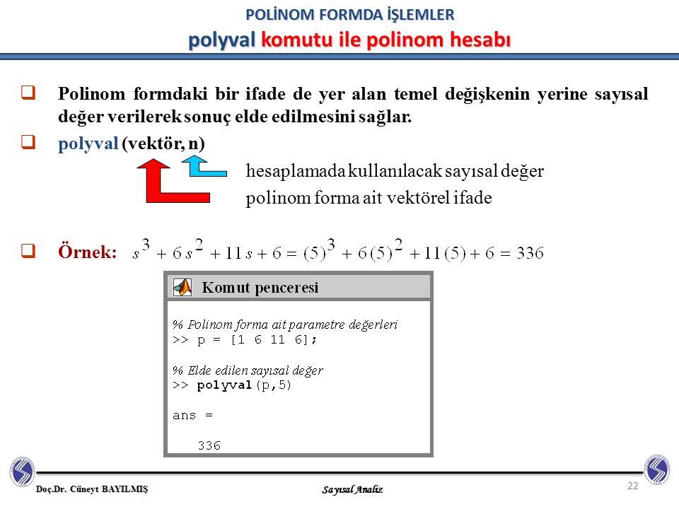 Doç.Dr. Cüneyt BAYILMIŞ Sayısal Analiz 22 POLİNOM FORMDA İŞLEMLER polyval komutu ile polinom hesabı  Polinom formdaki bir ifade de yer alan temel değ