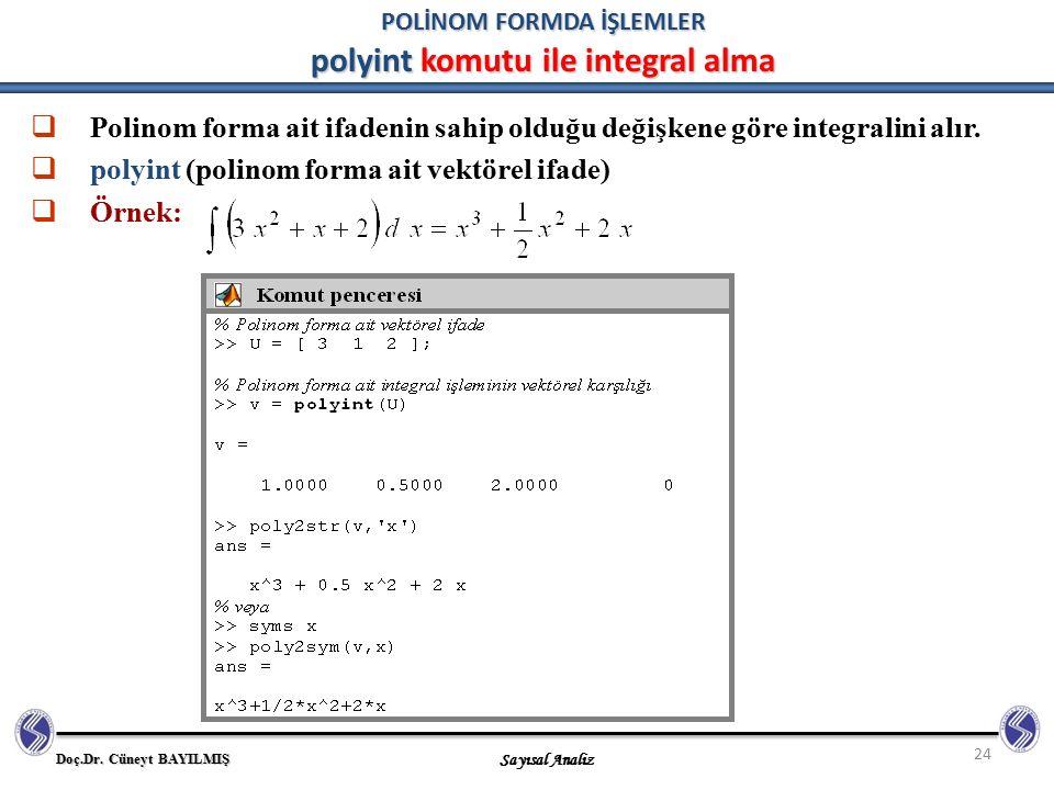 Doç.Dr. Cüneyt BAYILMIŞ Sayısal Analiz 24 POLİNOM FORMDA İŞLEMLER polyint komutu ile integral alma  Polinom forma ait ifadenin sahip olduğu değişkene