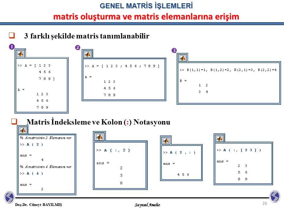 Doç.Dr. Cüneyt BAYILMIŞ Sayısal Analiz 26 GENEL MATRİS İŞLEMLERİ matris oluşturma ve matris elemanlarına erişim  3 farklı şekilde matris tanımlanabil