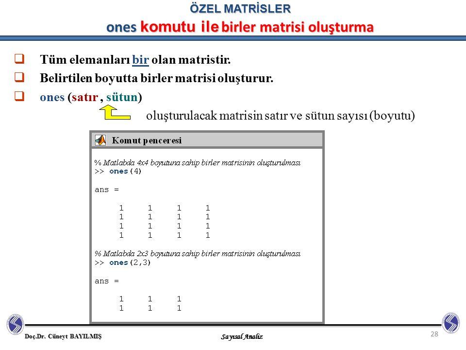 Doç.Dr. Cüneyt BAYILMIŞ Sayısal Analiz 28 ÖZEL MATRİSLER ones komutu ile birler matrisi oluşturma  Tüm elemanları bir olan matristir.  Belirtilen bo