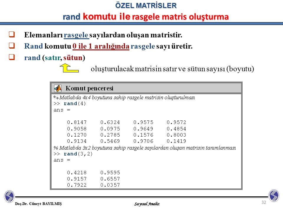 Doç.Dr. Cüneyt BAYILMIŞ Sayısal Analiz 32 ÖZEL MATRİSLER rand komutu ile rasgele matris oluşturma  Elemanları rasgele sayılardan oluşan matristir. 