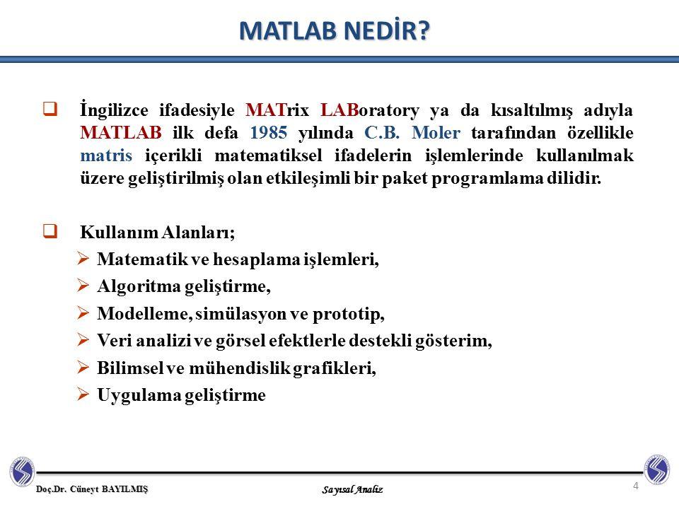 Doç.Dr. Cüneyt BAYILMIŞ Sayısal Analiz 4 MATLAB NEDİR?  İngilizce ifadesiyle MATrix LABoratory ya da kısaltılmış adıyla MATLAB ilk defa 1985 yılında