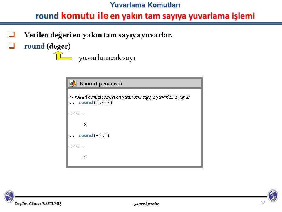 Doç.Dr. Cüneyt BAYILMIŞ Sayısal Analiz 47 Yuvarlama Komutları round komutu ile en yakın tam sayıya yuvarlama işlemi  Verilen değeri en yakın tam sayı