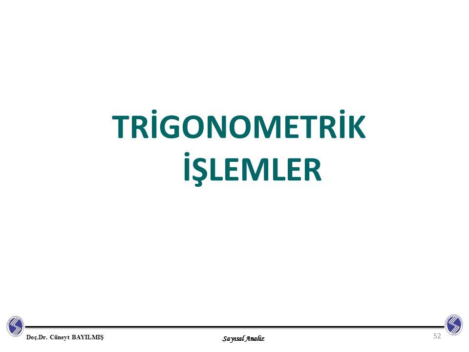 Sayısal Analiz Doç.Dr. Cüneyt BAYILMIŞ TRİGONOMETRİK İŞLEMLER 52