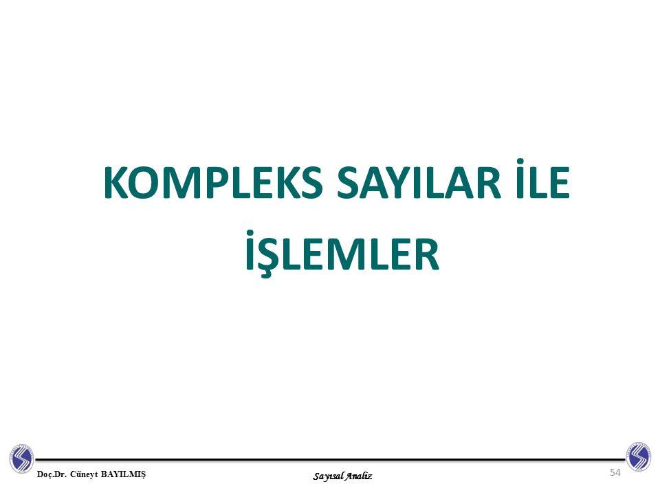 Sayısal Analiz Doç.Dr. Cüneyt BAYILMIŞ KOMPLEKS SAYILAR İLE İŞLEMLER 54