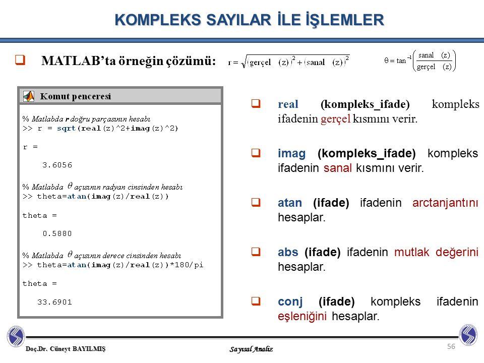 Doç.Dr. Cüneyt BAYILMIŞ Sayısal Analiz 56 KOMPLEKS SAYILAR İLE İŞLEMLER  MATLAB'ta örneğin çözümü:  real (kompleks_ifade) kompleks ifadenin gerçel k