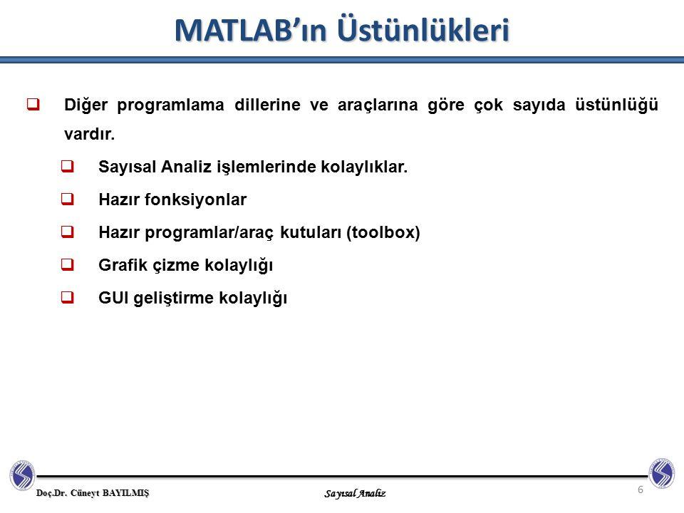 Doç.Dr. Cüneyt BAYILMIŞ Sayısal Analiz MATLAB'ın Üstünlükleri 6  Diğer programlama dillerine ve araçlarına göre çok sayıda üstünlüğü vardır.  Sayısa