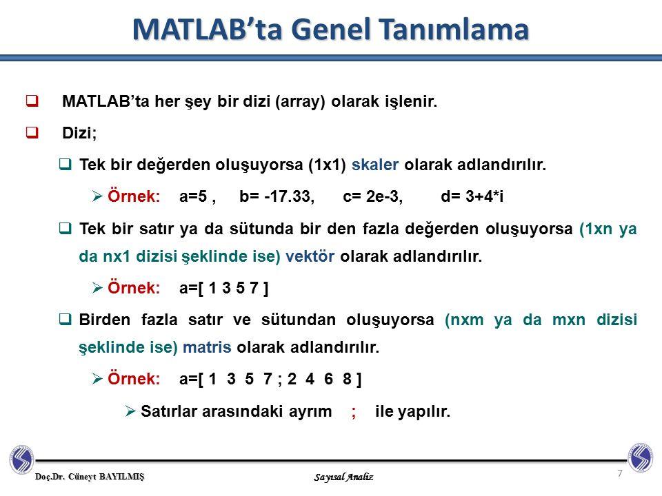 Doç.Dr. Cüneyt BAYILMIŞ Sayısal Analiz MATLAB'ta Genel Tanımlama 7  MATLAB'ta her şey bir dizi (array) olarak işlenir.  Dizi;  Tek bir değerden olu
