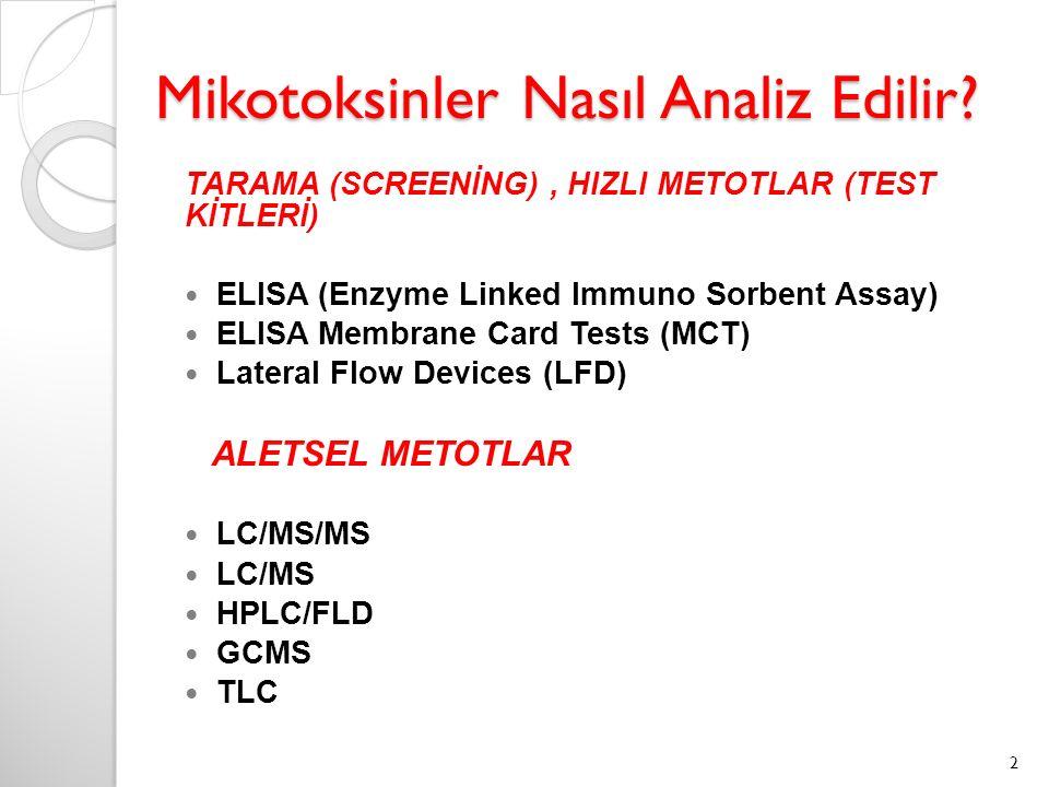 Mikotoksinler Nasıl Analiz Edilir? TARAMA (SCREENİNG), HIZLI METOTLAR (TEST KİTLERİ) ELISA (Enzyme Linked Immuno Sorbent Assay) ELISA Membrane Card Te