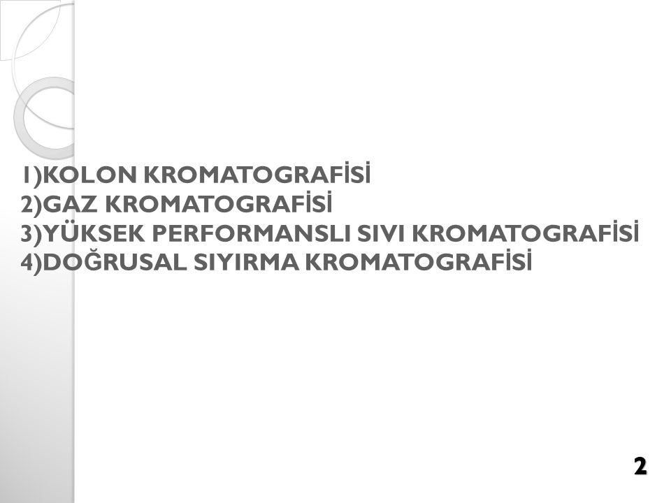 1)KOLON KROMATOGRAF İ S İ 2)GAZ KROMATOGRAF İ S İ 3)YÜKSEK PERFORMANSLI SIVI KROMATOGRAF İ S İ 4)DO Ğ RUSAL SIYIRMA KROMATOGRAF İ S İ