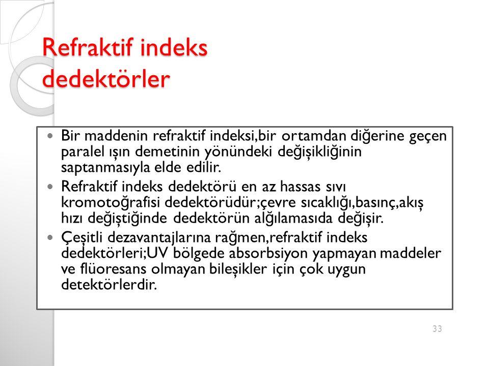 Refraktif indeks dedektörler Bir maddenin refraktif indeksi,bir ortamdan di ğ erine geçen paralel ışın demetinin yönündeki de ğ işikli ğ inin saptanmasıyla elde edilir.
