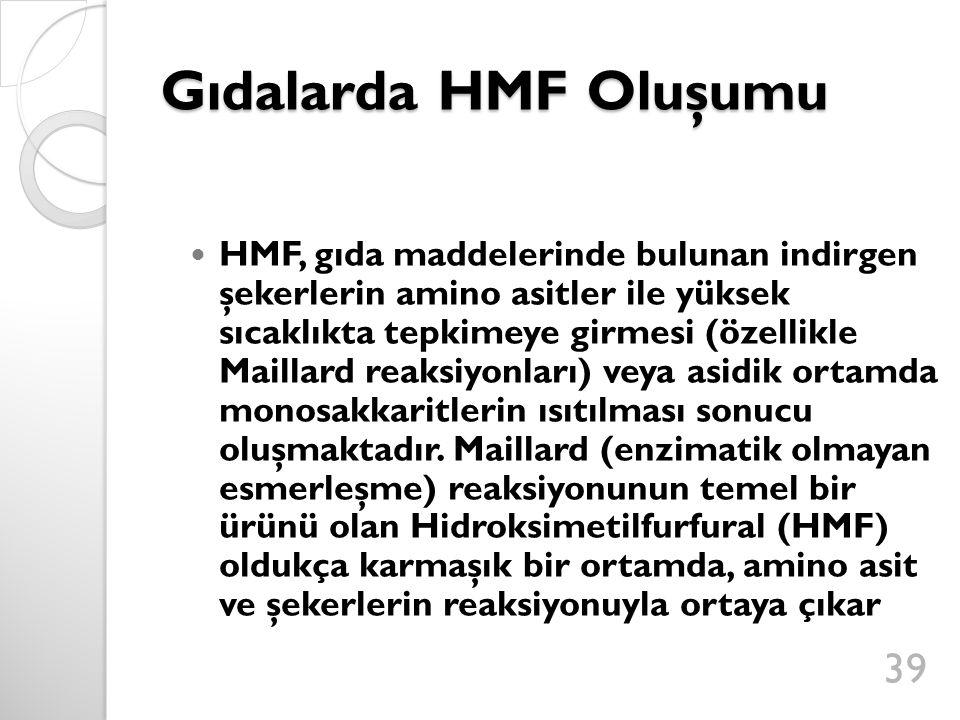 Gıdalarda HMF Oluşumu HMF, gıda maddelerinde bulunan indirgen şekerlerin amino asitler ile yüksek sıcaklıkta tepkimeye girmesi (özellikle Maillard reaksiyonları) veya asidik ortamda monosakkaritlerin ısıtılması sonucu oluşmaktadır.