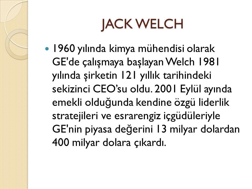 JACK WELCH 1960 yılında kimya mühendisi olarak GE de çalışmaya başlayan Welch 1981 yılında şirketin 121 yıllık tarihindeki sekizinci CEO'su oldu.