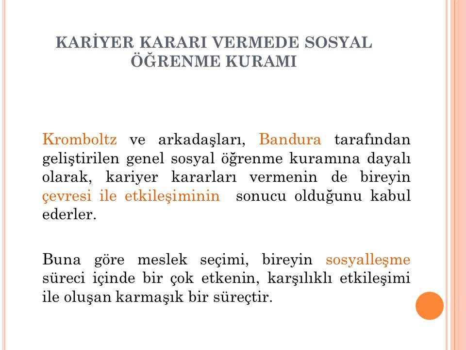 KARİYER KARARI VERMEDE SOSYAL ÖĞRENME KURAMI Kromboltz ve arkadaşları, Bandura tarafından geliştirilen genel sosyal öğrenme kuramına dayalı olarak, ka