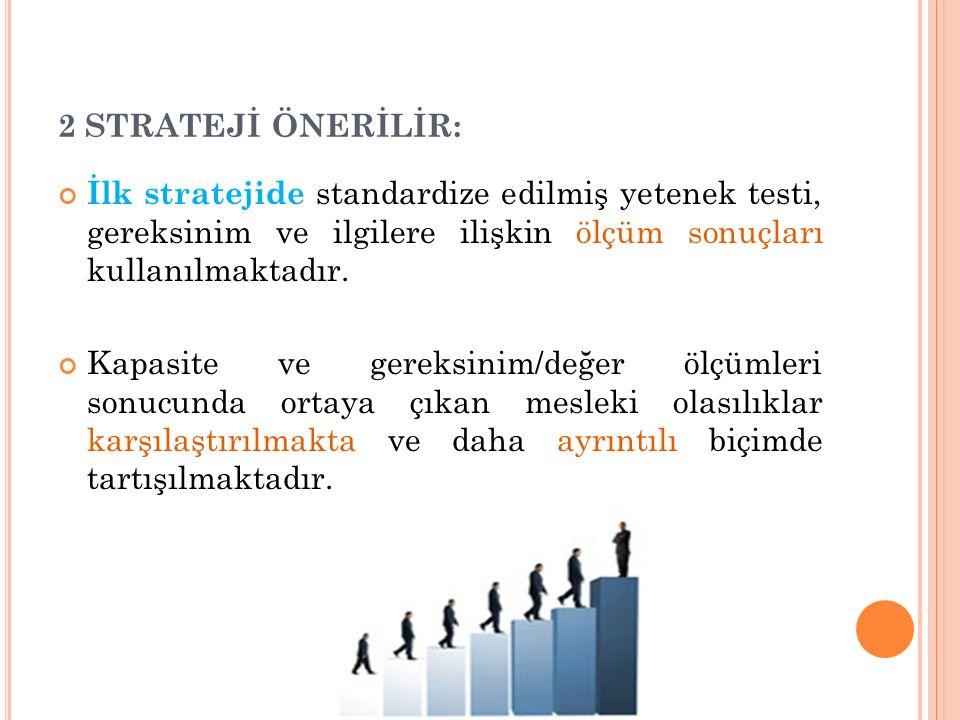 2 STRATEJİ ÖNERİLİR: İlk stratejide standardize edilmiş yetenek testi, gereksinim ve ilgilere ilişkin ölçüm sonuçları kullanılmaktadır. Kapasite ve ge