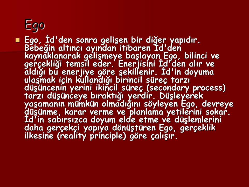 Ego Ego Ego, İd den sonra gelişen bir diğer yapıdır.