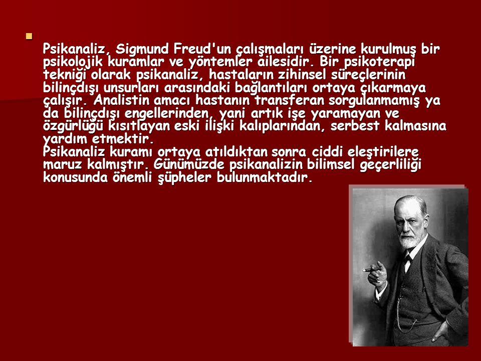 Psikanaliz, Sigmund Freud un çalışmaları üzerine kurulmuş bir psikolojik kuramlar ve yöntemler ailesidir.