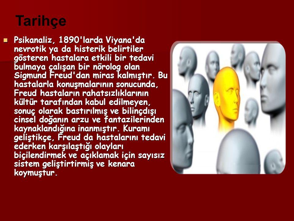 Psikanaliz, 1890 larda Viyana da nevrotik ya da histerik belirtiler gösteren hastalara etkili bir tedavi bulmaya çalışan bir nörolog olan Sigmund Freud dan miras kalmıştır.
