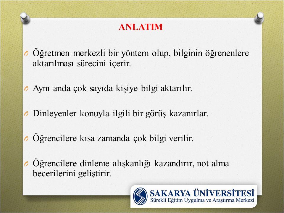 ANLATIM O Öğretmen merkezli bir yöntem olup, bilginin öğrenenlere aktarılması sürecini içerir.