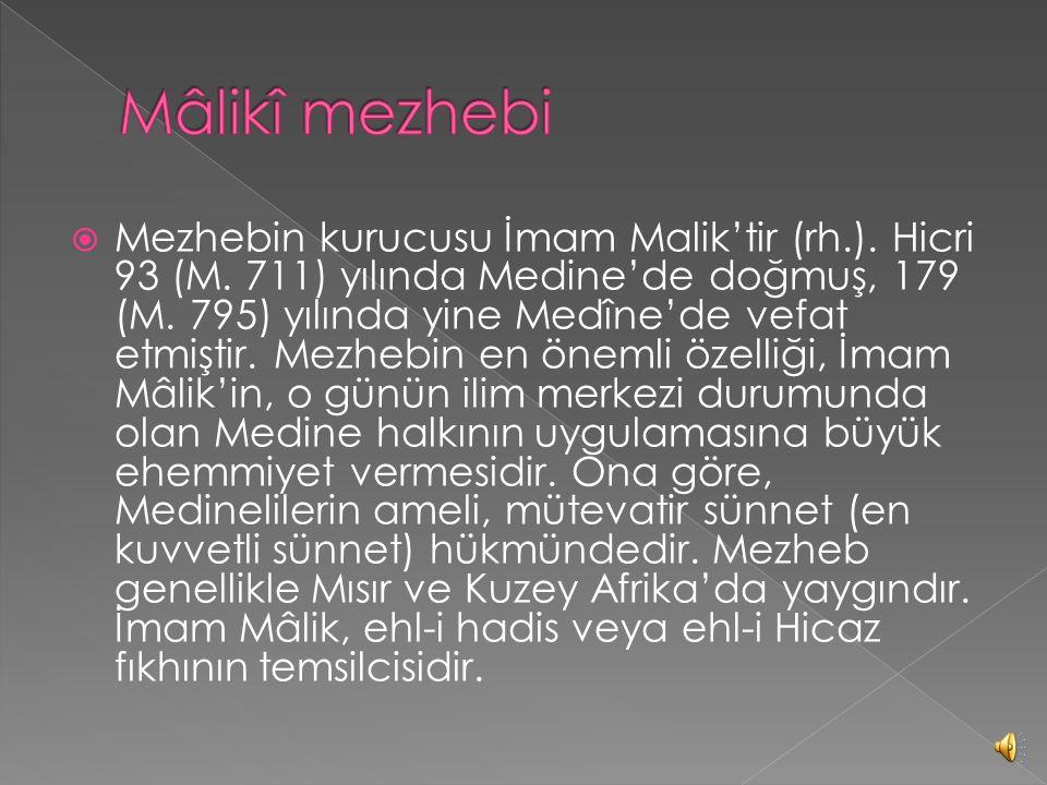  Mezhebin kurucusu İmam-ı A'zam Ebû Hanîfe'dir (rh.). Hicri 80 (M. 699) yılında Kufe'de doğmuş, 150'de (M. 767) Bağdat'ta vefat etmiştir. Aslen varlı