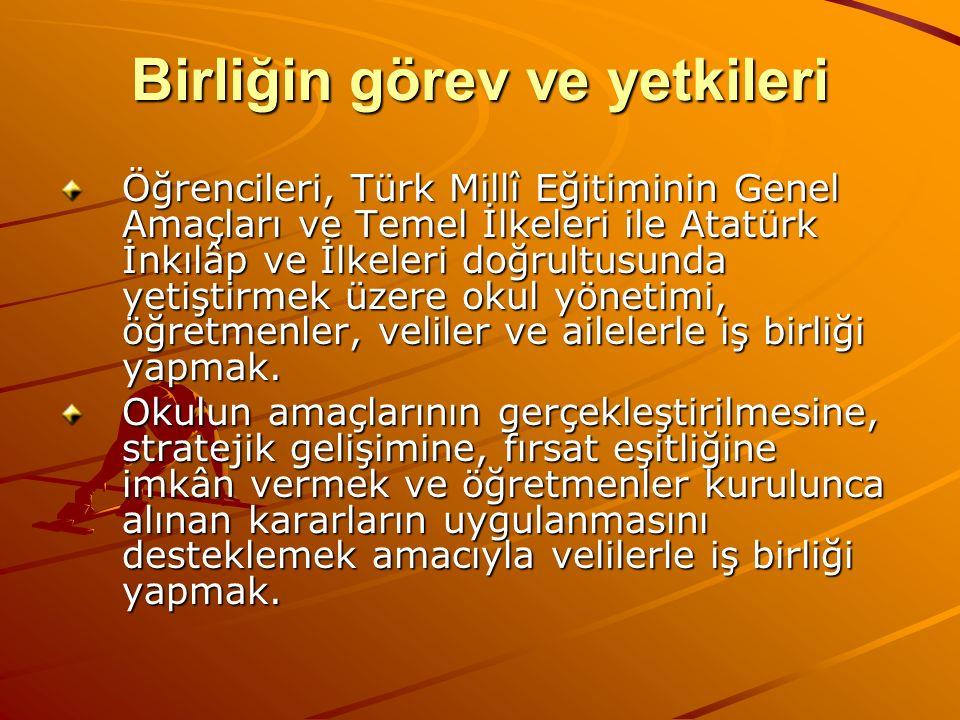 Birliğin görev ve yetkileri Öğrencileri, Türk Millî Eğitiminin Genel Amaçları ve Temel İlkeleri ile Atatürk İnkılâp ve İlkeleri doğrultusunda yetiştir
