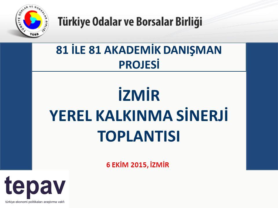 Türkiye Odalar ve Borsalar Birliği 81 İLE 81 AKADEMİK DANIŞMAN PROJESİ 6 EKİM 2015, İZMİR İZMİR YEREL KALKINMA SİNERJİ TOPLANTISI