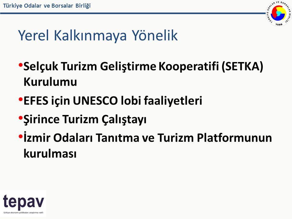 Türkiye Odalar ve Borsalar Birliği Yerel Kalkınmaya Yönelik Selçuk Turizm Geliştirme Kooperatifi (SETKA) Kurulumu EFES için UNESCO lobi faaliyetleri Şirince Turizm Çalıştayı İzmir Odaları Tanıtma ve Turizm Platformunun kurulması