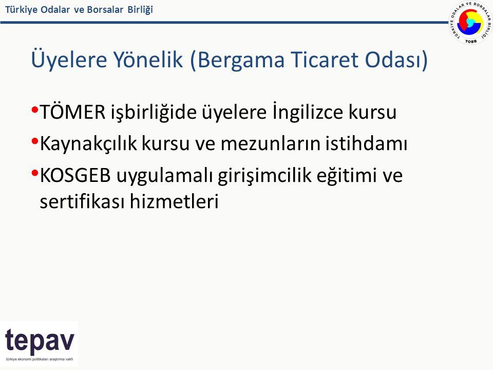 Türkiye Odalar ve Borsalar Birliği Üyelere Yönelik (Bergama Ticaret Odası) TÖMER işbirliğide üyelere İngilizce kursu Kaynakçılık kursu ve mezunların istihdamı KOSGEB uygulamalı girişimcilik eğitimi ve sertifikası hizmetleri