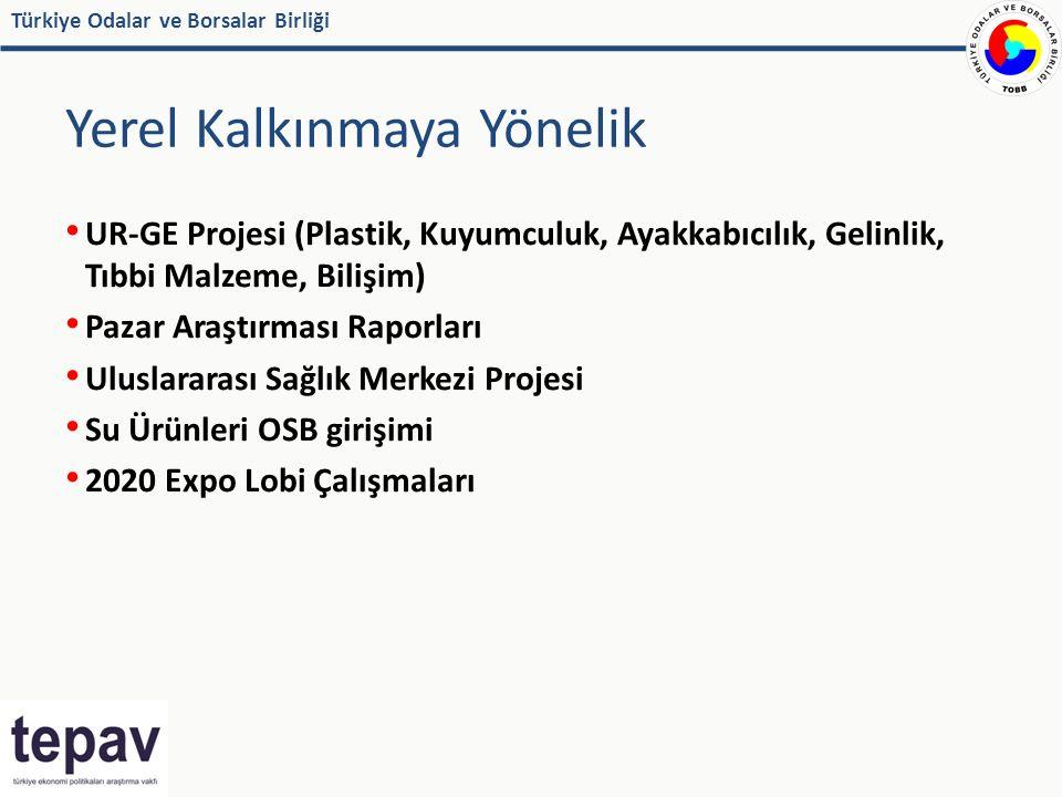 Türkiye Odalar ve Borsalar Birliği Yerel Kalkınmaya Yönelik UR-GE Projesi (Plastik, Kuyumculuk, Ayakkabıcılık, Gelinlik, Tıbbi Malzeme, Bilişim) Pazar Araştırması Raporları Uluslararası Sağlık Merkezi Projesi Su Ürünleri OSB girişimi 2020 Expo Lobi Çalışmaları
