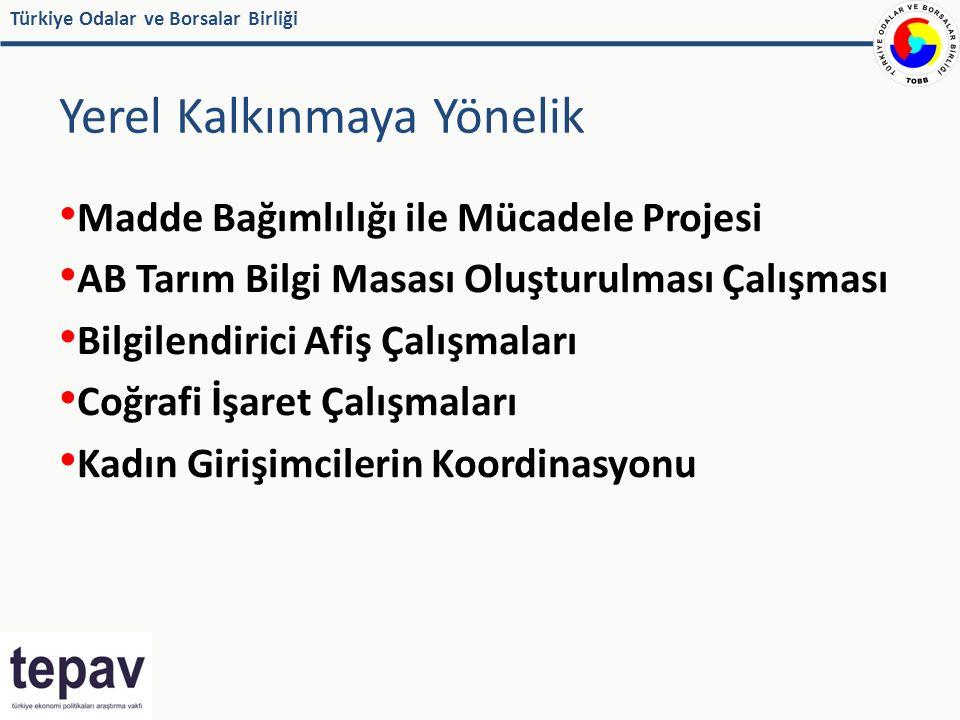 Türkiye Odalar ve Borsalar Birliği Yerel Kalkınmaya Yönelik Madde Bağımlılığı ile Mücadele Projesi AB Tarım Bilgi Masası Oluşturulması Çalışması Bilgilendirici Afiş Çalışmaları Coğrafi İşaret Çalışmaları Kadın Girişimcilerin Koordinasyonu