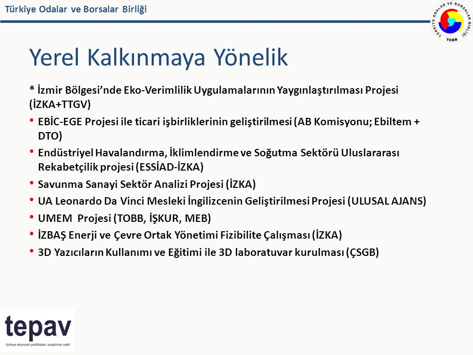 Türkiye Odalar ve Borsalar Birliği Yerel Kalkınmaya Yönelik * İzmir Bölgesi'nde Eko-Verimlilik Uygulamalarının Yaygınlaştırılması Projesi (İZKA+TTGV) EBİC-EGE Projesi ile ticari işbirliklerinin geliştirilmesi (AB Komisyonu; Ebiltem + DTO) Endüstriyel Havalandırma, İklimlendirme ve Soğutma Sektörü Uluslararası Rekabetçilik projesi (ESSİAD-İZKA) Savunma Sanayi Sektör Analizi Projesi (İZKA) UA Leonardo Da Vinci Mesleki İngilizcenin Geliştirilmesi Projesi (ULUSAL AJANS) UMEM Projesi (TOBB, İŞKUR, MEB) İZBAŞ Enerji ve Çevre Ortak Yönetimi Fizibilite Çalışması (İZKA) 3D Yazıcıların Kullanımı ve Eğitimi ile 3D laboratuvar kurulması (ÇSGB)