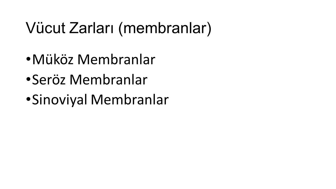 Vücut Zarları (membranlar) Müköz Membranlar Seröz Membranlar Sinoviyal Membranlar