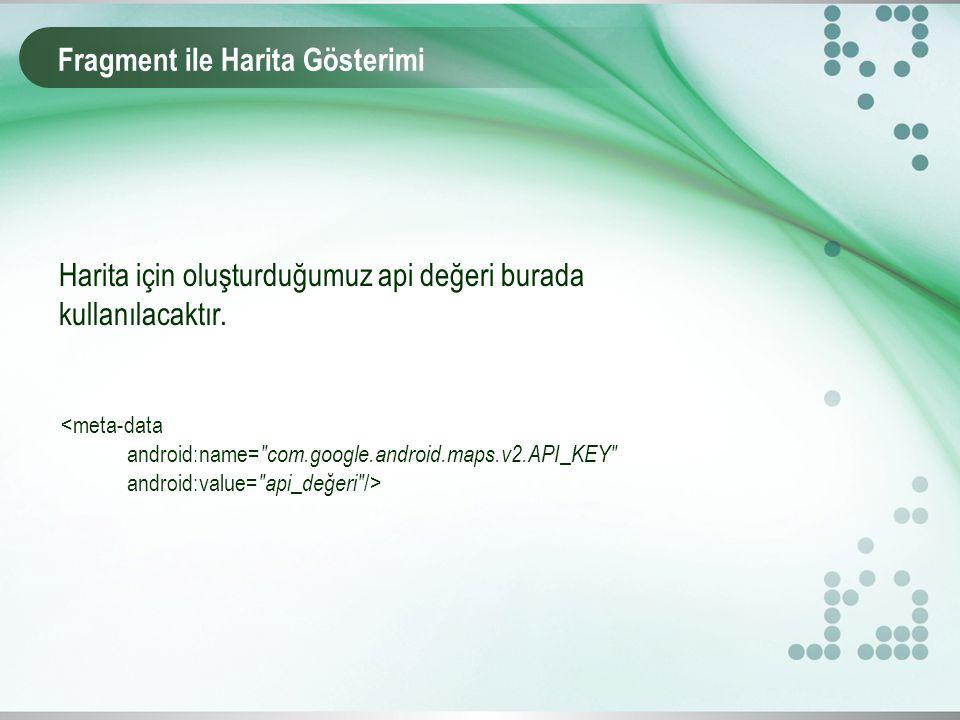 Fragment ile Harita Gösterimi Harita için oluşturduğumuz api değeri burada kullanılacaktır. <meta-data android:name=