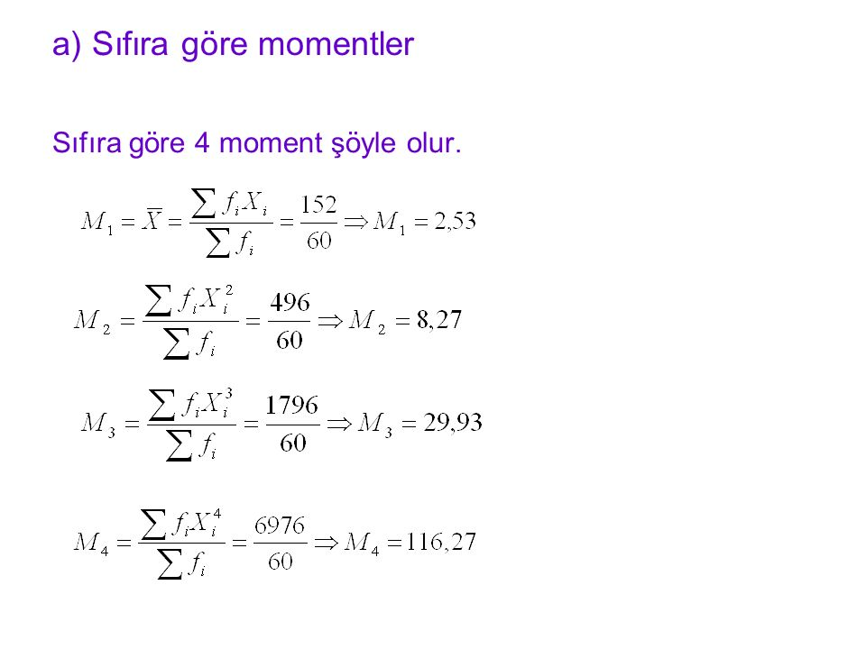 Sıfıra göre 4 moment şöyle olur. a) Sıfıra göre momentler