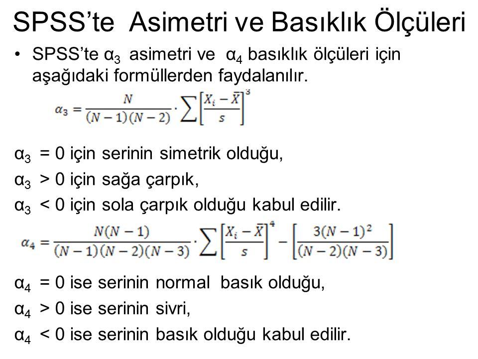 SPSS'te Asimetri ve Basıklık Ölçüleri SPSS'te α 3 asimetri ve α 4 basıklık ölçüleri için aşağıdaki formüllerden faydalanılır. α 3 = 0 için serinin sim