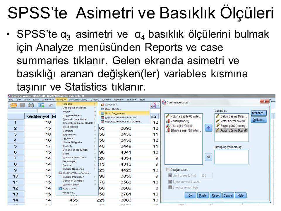SPSS'te α 3 asimetri ve α 4 basıklık ölçülerini bulmak için Analyze menüsünden Reports ve case summaries tıklanır. Gelen ekranda asimetri ve basıklığı