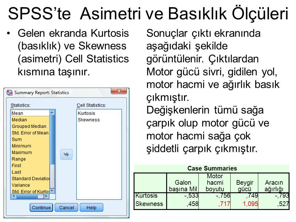 Gelen ekranda Kurtosis (basıklık) ve Skewness (asimetri) Cell Statistics kısmına taşınır. SPSS'te Asimetri ve Basıklık Ölçüleri Case Summaries Galon b